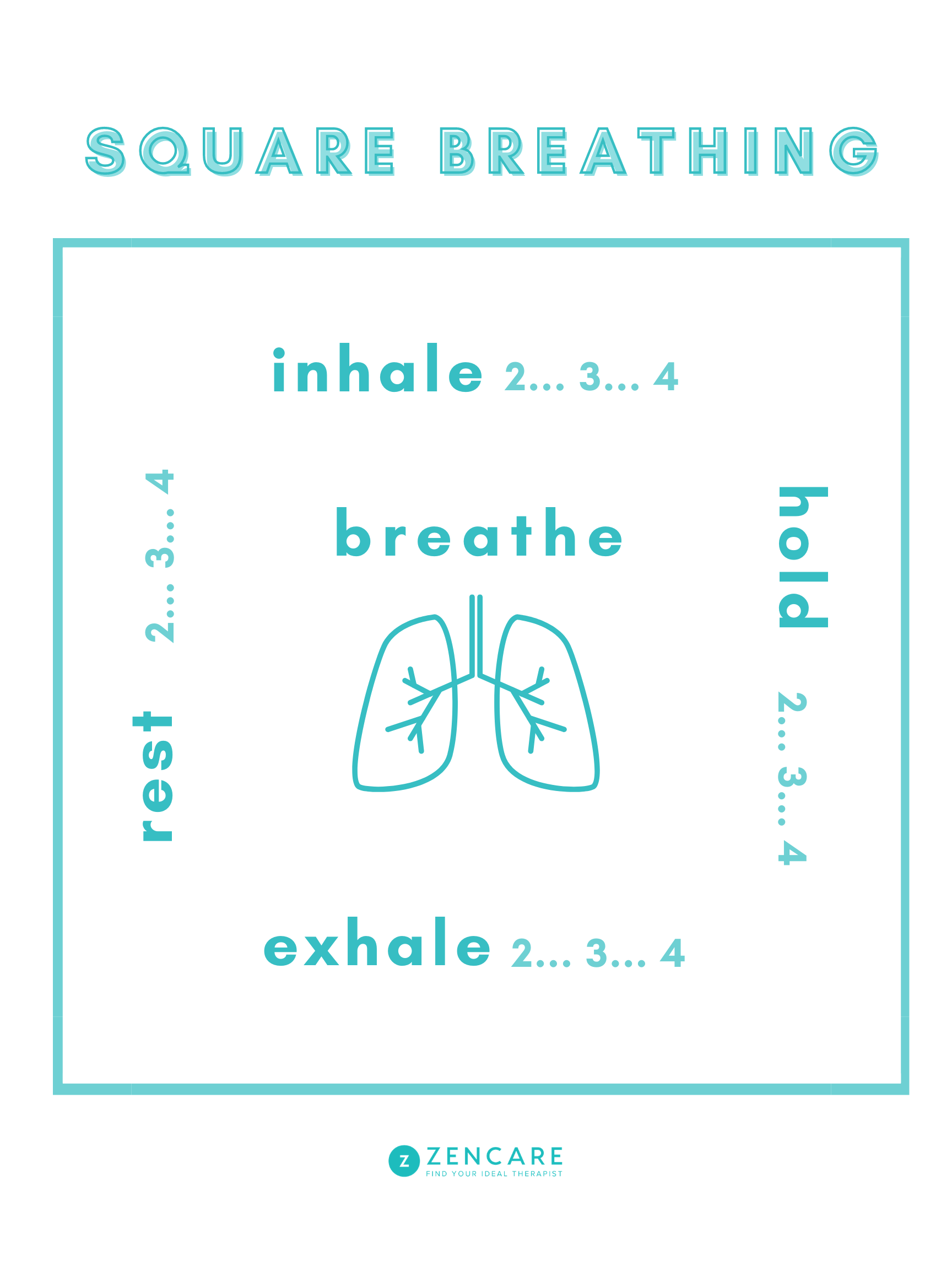 Square breathing for relaxation meditation