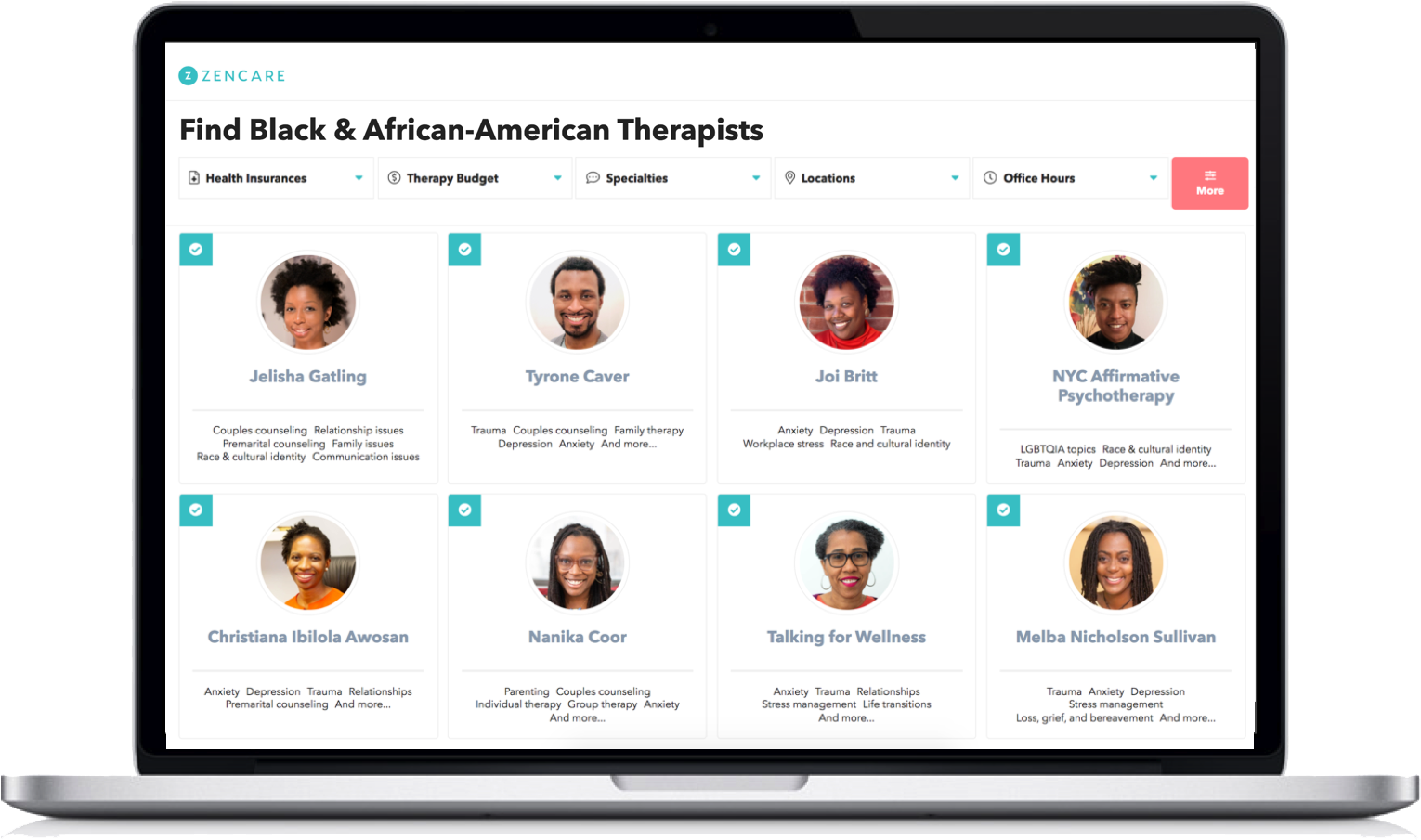 Black & African-American therapists on the Zencare website